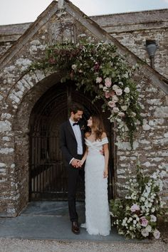 Floral Arch For Church // Boconnoc Cornwall Weekend Wedding With Bride In Halfpenny London & Groom In Paul Smith With Images From The Curries church wedding Boconnoc Cornwall Weekend Wedding Images From The Curries Small Church Weddings, Church Wedding Flowers, Church Wedding Decorations, Chapel Wedding, Wedding In A Church, Wedding Centerpieces, Tall Centerpiece, Flower Centerpieces, Wedding Signs
