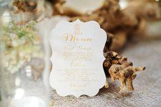 gold die-cut menu   Paul Johnson #wedding