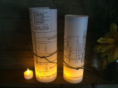 Newest idea! Limited edition until paper runs out. Vellum blueprint luminaries! They come in 3 sizes small, medium, large. They illuminate…