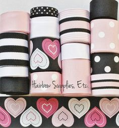 Valentine Stitched Hearts 15 yard Printed ribbon lot by HairbowSuppliesEtc