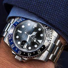Cool Watches, Rolex Watches, Watches For Men, Rolex Wrist Watch, Rolex Batman, Wear Watch, Perpetual Motion, Rolex Gmt Master, Dapper Men