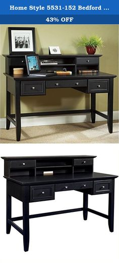 Home Style 5531-152 Bedford Executive Desk and Hutch, Black. This home styles bedford executive desk and hutch makes a wonderful addition to a room in need of extra workspace. The unit has five drawers and four open storage areas. Construction consists of hard wood solids and wood product with a multi-step black ebony finish including a clear coat finish to help guard against wear and tear stemming from normal use. Overall dimensions when completely assembled measures 54-inch width by...