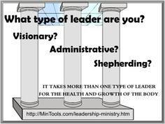 God gave different types of spiritual gifts to enable different types of leaders ... the gift of leadership, administration, and pastor. When used in coordination with one another, these gifts lead to balance in the church.