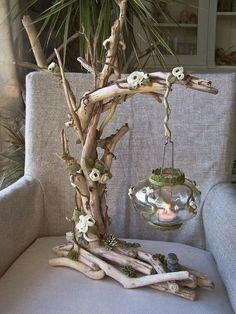 DIYs with driftwood - new beautiful handicraft and decoration ideas My desired . - garten-ideen - DIYs with driftwood – new beautiful handicraft and decoration ideas My desired home - Diy Home Crafts, Garden Crafts, Diy Home Decor, Arts And Crafts, Garden Art, Home Decoration, Decor Crafts, Decorations, Fairy Garden Furniture