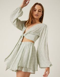 Tie Top and Flowy Shorts Set Flowy Shorts, Crop Top And Shorts, Crop Tops, Festival Looks, Festival Outfits, Bell Sleeve Top, Shoulder Dress, Tie, Warm Weather