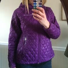 """Purple puffer jacket Lightweight and in EUC!  Measures 25"""" long and 20"""" armpit to armpit Free Country Jackets & Coats Puffers"""