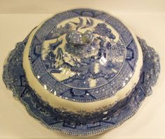 blue willow | Rare W Ridgway Blue Willow Round Butter Dish With Lid Antique English ...