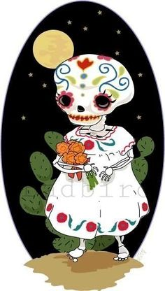 sugar skull girl. Pretty skull art. Day of the dead.