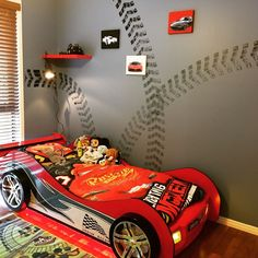 Racing Theme Room for our 3 year old #boy #room #bedroom #racing #theme # carbed #car #bed #3yearold #red #black #white #design #ideas #speed #cool #Porsche #Ferrari #wall #decal  #tyre #tracks #diy #paint #roller #stencil