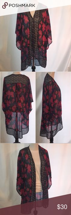 Hollister Floral Kimono One Size Excellent condition Burgundy and Navy Blue Floral Kimono from Hollister! Simply gorgeous, long and flow-y. 100% Polyester. Machine wash and tumble dry low. Offers welcome. 20% off bundles! Hollister Tops
