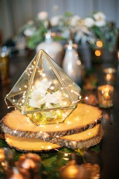 Rustic wedding ideas-geometric wedding centerpieces with lights and wood