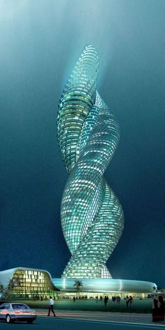 Cobra Tower Kuwait - Whether this building ever actually sees the light of day is irrelevant. This design for a spiraling interwined building in Kuwait is clever, creative and devastatingly original. Unusual Buildings, Interesting Buildings, Amazing Buildings, Modern Buildings, Modern Skyscrapers, Architecture Unique, Futuristic Architecture, School Architecture, Building Architecture