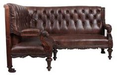 Exceptional Victorian Oak And Leather Corner Sofa/Couch from LT Antiques Leather Chesterfield, Chesterfield Chair, Vintage Furniture For Sale, Leather Corner Sofa, Repurposed, Accent Chairs, Victorian, Couch, Curvy Women