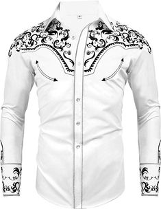 Daupanzees Men's Long Sleeve Embroidered Shirts Slim Fit Casual Button Down Shirt African Shirts For Men, African Dresses Men, African Clothing For Men, Latest African Men Fashion, Nigerian Men Fashion, Mens Fashion Blazer, Suit Fashion, Cowboy Outfits, Western Outfits