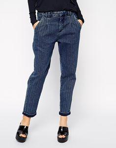 ASOS Peg Trouser in Vintage Denim Self-Stripe
