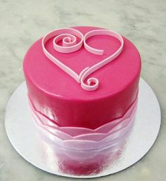 Quilled Heart Cake Valrhona chocolate cake filled with raspberry buttercream, iced in a deep pink rolled fondant, finished with a quilled su. Pretty Cakes, Beautiful Cakes, Amazing Cakes, Heart Shaped Cakes, Heart Cakes, Pear And Almond Cake, Almond Cakes, Fondant Cakes, Cupcake Cakes