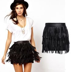 Women Girl Fringe Skirt High Waist Skirts with Tassel PU Leather Mini Belt Skirt
