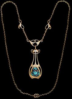 MURRLE BENNETT & Co. (1896-1914)   A gold necklace. The turquoise set pendant, suspended from an entrelac design central plaque. The original chain punctuated with two entrelac motifs.   Anglo/German c.1900. Marks for MB & Co. and 15 ct.  Size: Pendant length with central plaque 5.4 cm. (Fitted Case)  Lit.: Art Nouveau Jewelry. Vivienne Becker. Liberty Style. Academy Editions.