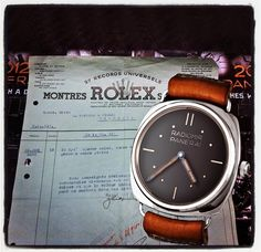 """The first Panerai model, ref. 2533 and the original Rolex invoice to Panerai Firenze, 1936. #panerai #radiomir #florence #rolex #oyster #johngoldberger"""