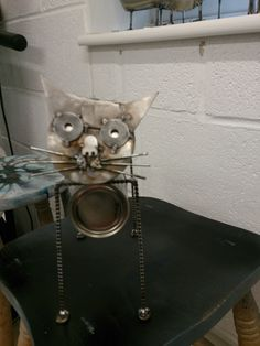 Metal cat miniature up-cycled part's
