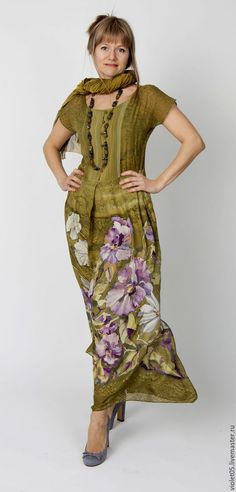 Dresses handcrafted.  Fair Masters - handmade.  Buy Oliva - set chiffon shirt and lower.  Handmade.  Batik