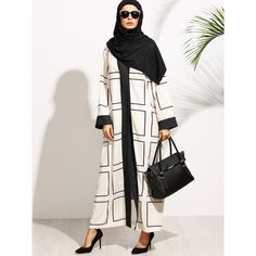 SheIn(sheinside) Apricot Geo Print Contrast Trim Maxi Duster Coat (£19) ❤ liked on Polyvore featuring apricot