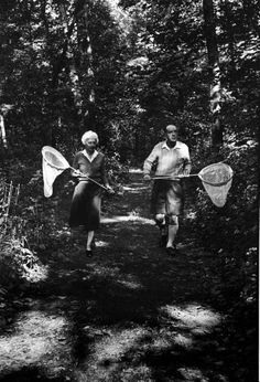 Author Vladimir Nabokov and his wife Vera chasing butterflies.   Photograph by Carl Mydans, September, 1958.