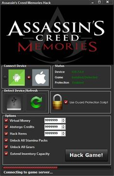 Assassins Creed Memories Hack Assassins Creed Memories Hack (iOS/Android) - HacksBook http://www.hacksbook.com/assassins-creed-memories-hack-iosandroid/
