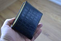 Check out this item in my Etsy shop https://www.etsy.com/nl/listing/279878504/leather-wallet-black-and-yellow-mens