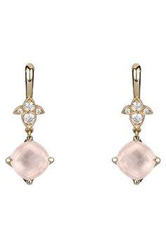 Pendientes en oro rosa, cuarzo rosa y diamantes.