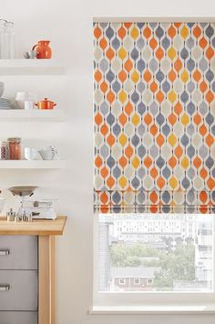Bright pop patterns brighten a decor up wonderfully in a plainly decorated kitchen, coordinate accessories to really bring the look together. Our Bauble Orange Roman blind is perfect for this. Skylight Blinds, Blinds For Windows, Curtains With Blinds, Bedroom Blinds, Orange Roman Blinds, Orange Curtains, Grey Bedroom With Pop Of Color, Gray And White Kitchen, White Kitchen With Blinds