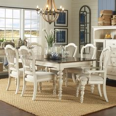 Hillsdale Furniture 5265DTBRCW7 Pine Island 7 PC Dining Set   With Wheat  Back Chairs