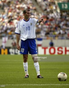 Zinedine Zidane of France prepares to take a free-kick during the FIFA World Cup Finals 2002 Group A match between France and Denmark played at the Incheon Munhak Stadium, in Incheon, South Korea on June 11, 2002. Denmark won the match 2-0. DIGITAL
