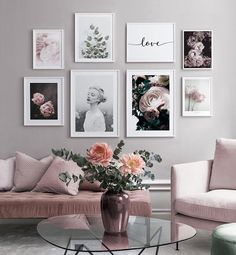 Gallery wall with a quote and pink flowers in pink nuances - You can find inspiration wall and more on our website.Gallery wall with a quote and pink flowers. Decor Room, Living Room Decor, Bedroom Decor, Home Decor, Picture Wall Living Room, Picture Walls, Pictures On Wall Living Room, Living Room Prints, Bedroom Pictures