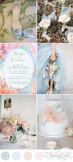 Rose Quartz and Serenity Wedding    Pantone 2016    Pastel Blue and Pink Wedding Inspiration Board