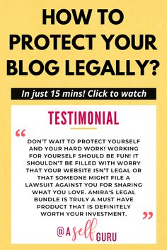 Looking to legally protect your blog? This video is just for you! Get legal tips from a lawyer and protect your blog legally! Click to watch how this blogger protected her blog in just 15 minutes and you can easily do the same. Legal templates for blogs privacy policy template for websites #bloggingtips #legaltips #blogtips #blogs #smallbusiness Make Money Blogging, Make Money Online, How To Make Money, Self Employed Jobs, How To Protect Yourself, Work From Home Jobs, Blogging For Beginners, Blog Tips, Privacy Policy