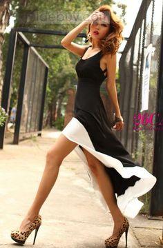新しいセクシーなUネックホワイト裾ジョイントロングドレス