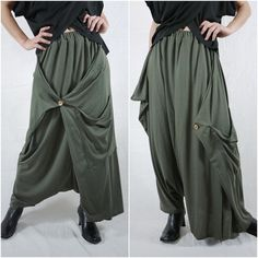 Boho Funky Hippie Stylish Harem Casual Low Crotch Dusty Army Green Pants With Roomy Patched Pockets - P046