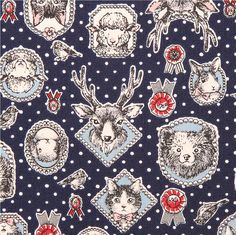 dark blue animal frame oxford fabric Kokka cat bear stag