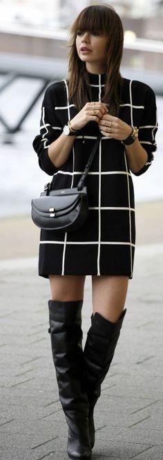 Fashion Zen Grid Print Little Dress Fall Street Style Inspo