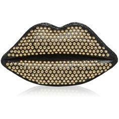 LULU GUINNESS Black Studded Sparkle Leather Lips Clutch ($525) ❤ liked on Polyvore featuring bags, handbags, clutches, bolsas, lips, accessories, studded handbags, lips pursed, studded purse and reversible handbag