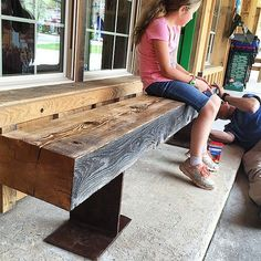 Wood Bench reclaimed barn timber and i-beam project Barn Wood Projects, Reclaimed Wood Projects, Reclaimed Barn Wood, Furniture Projects, Diy Projects, Rustic Furniture, Diy Furniture, Outdoor Furniture, Timber Furniture