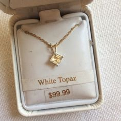 NWT 10K Gold Filled White Topaz Necklace Brand new in box. Retail $99.99. Will not be priced lower. No offers please. Jewelry Necklaces