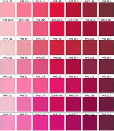 Pantone shades of pink color chart Pink Color Chart, Pantone Color Chart, Pantone Colour Palettes, Bedroom Color Schemes, Colour Schemes, Pink Paint Colors, Pastel Red, Pms Colour, Light Pink Color