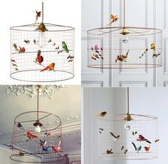 DIY Birdcage chandelier home decoration homemade how-to fun and quirky idea