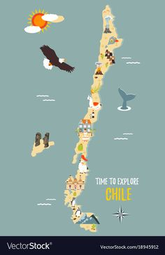 Map of chile with destinations animals landmarks vector image on VectorStock