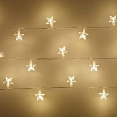 Lights4fun 30 Warm White LED Star Fairy Lights on Clear Cable