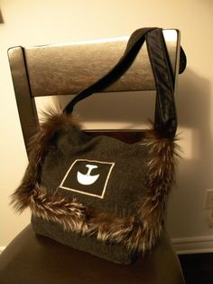 Inuit made purse w/ fur trim by Victoria Okpik