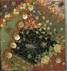 I ❤ crazy quilting, beading & ribbon embroidery . . .  Autumn spider webs block~By Kitty and Me