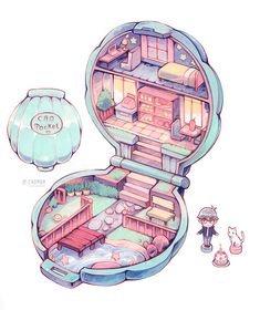 My cousin had something like this irl when i was a smol bean Art And Illustration, Illustrations, Arte Do Kawaii, Kawaii Art, Kawaii Drawings, Cute Drawings, Aesthetic Anime, Aesthetic Art, Stickers Kawaii